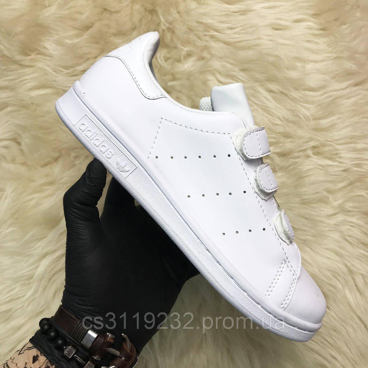 Женские кроссовки Adidas Stan Smith Velcro White (белый)