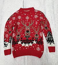 Вязаный свитер с оленями для девочек Белый, фото 3
