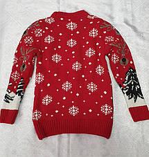 Вязаный свитер с оленями для девочек Белый, фото 2