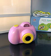 Детский фотоаппарат, Kids Camera c дисплеем, детская фотокамера, Розовая