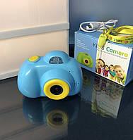 Детская камера, Детский фотоаппарат, Kids Camera с дисплеем, Голубая