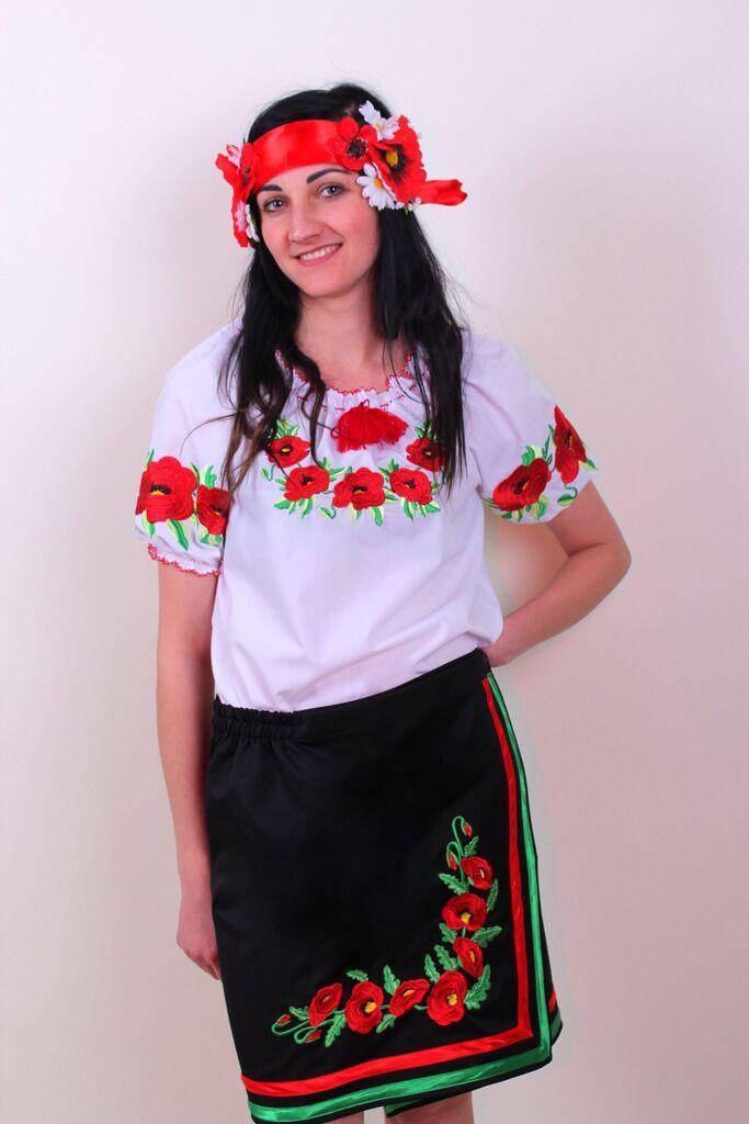 """Женская вышитая блуза """"Еко-мак"""" с коротким рукавом, 52"""