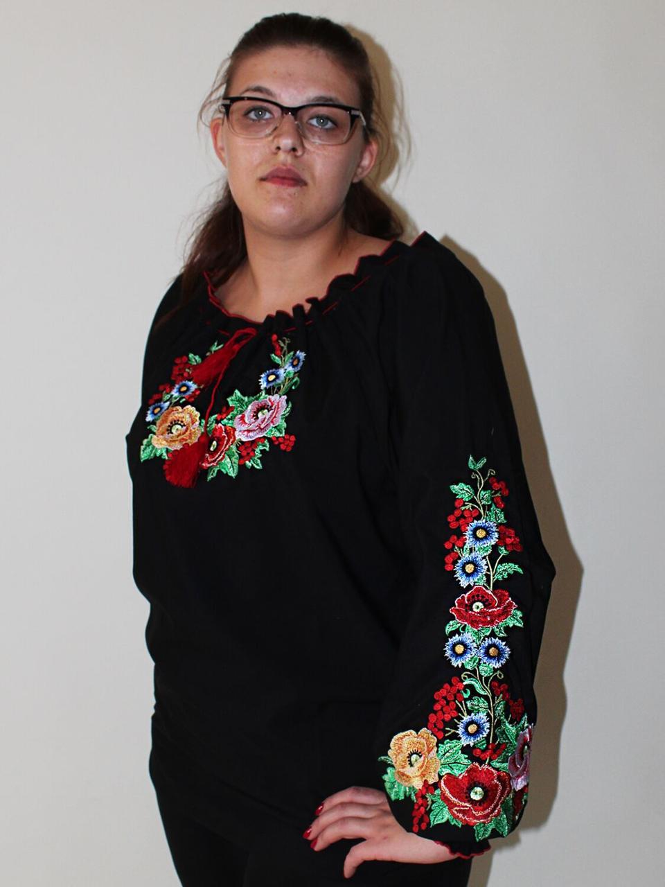 """Женская вышитая блуза """"Диана"""" на черном хлопке, 54"""