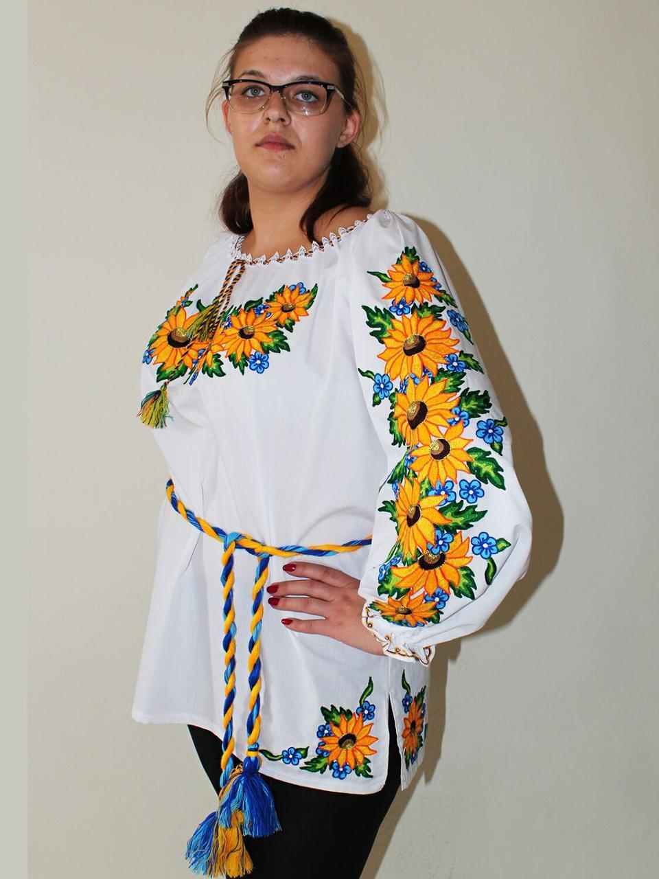 """Женская вышитая блуза """"Подсолнухи"""", 56"""