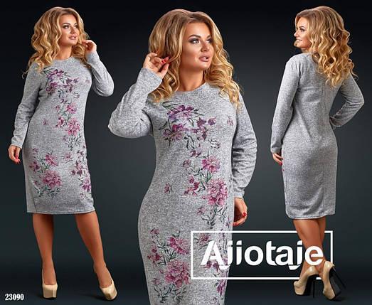 """Теплое и уютное женское платье ткань """"Ангора"""" 60 размер батал, фото 2"""