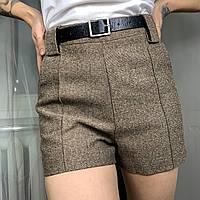 Женские твидовые шорты на подкладке коричневого цвета в комплекте с поясом