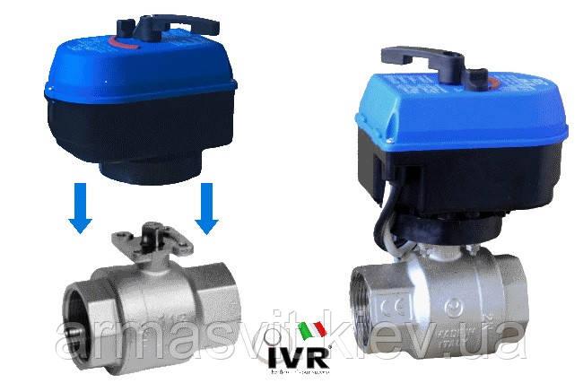 Кран шаровый 1' с электроприводом 220В  IVR (Italy) с ручным дублером