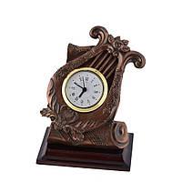 Часы настольные лира 13,5х11,5х9 см под бронзу (44003.002)