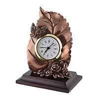 Часы настольные лист с розочками 13х10х7,5 см под бронзу (44003.003)