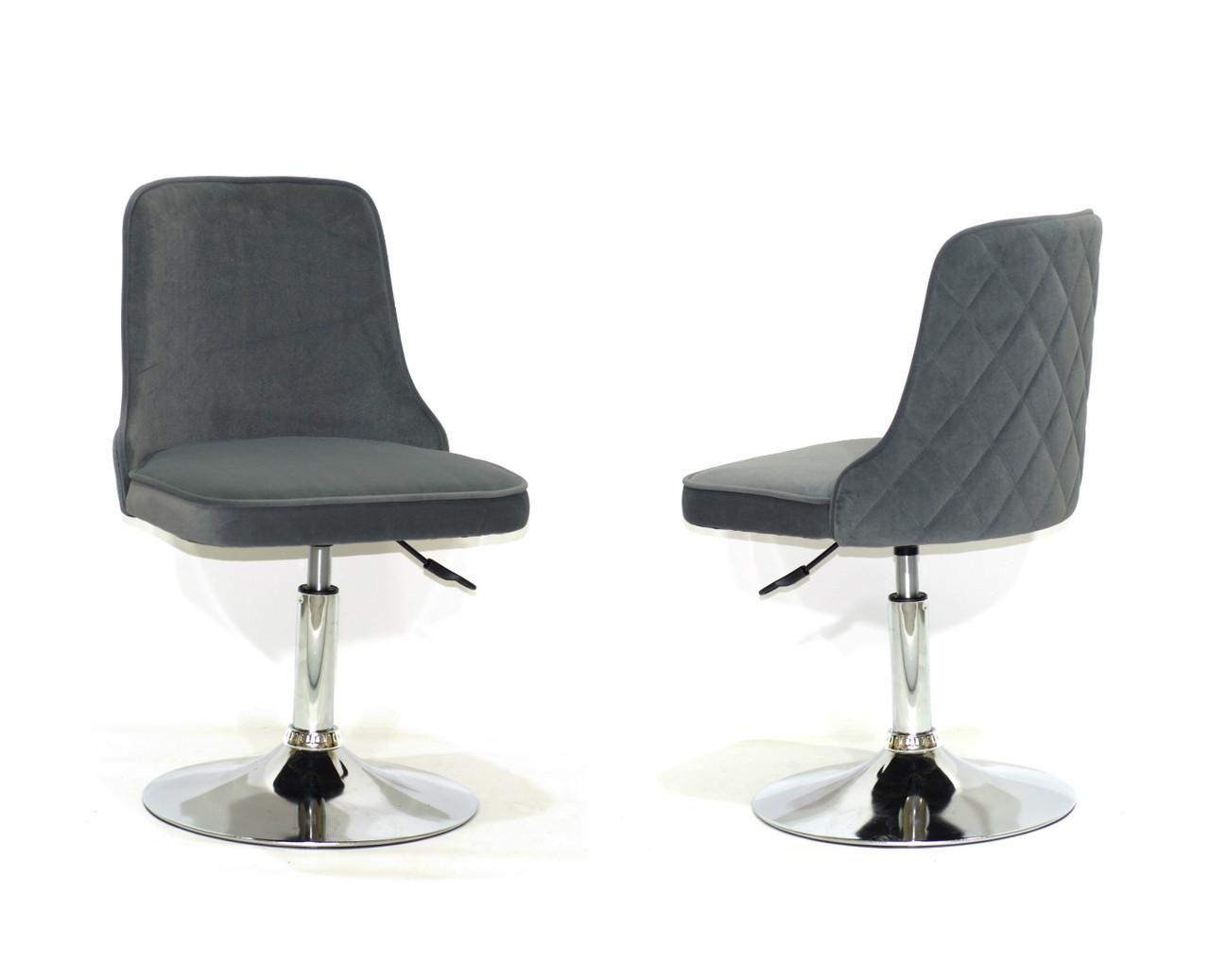 Кресло Адам ADAM CH-BASE серый бархат на блине