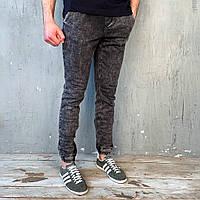 Мужские демисезонные джинсы джогеры серые на манжете