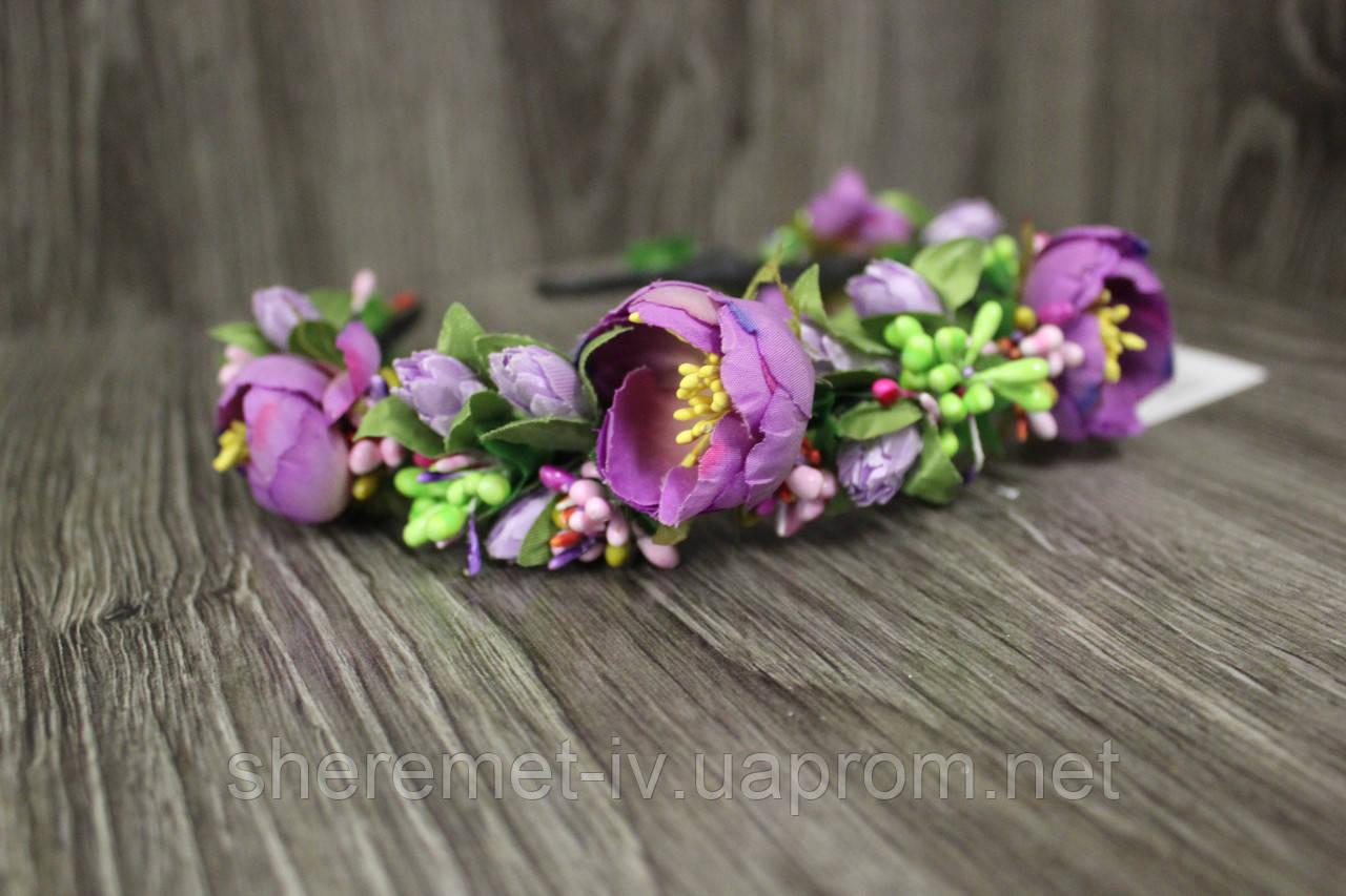 Обруч ободок ручная работа с фиолетовыми пионами