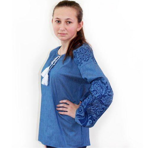 """Вышитая блуза """"Ольга"""" (джинс) с синей вышивкой, 3XL"""