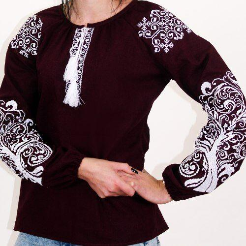 """Вышитая блуза """"Ольга"""" (бордовый лен) с белой вышивкой, 3XL"""
