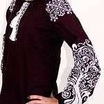 """Вышитая блуза """"Ольга"""" (бордовый лен) с белой вышивкой, 3XL, фото 2"""