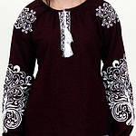 """Вышитая блуза """"Ольга"""" (бордовый лен) с белой вышивкой, 3XL, фото 3"""