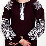 """Вышитая блуза """"Ольга"""" (бордовый лен) с белой вышивкой, 3XL, фото 4"""