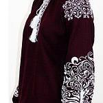 """Вышитая блуза """"Ольга"""" (бордовый лен) с белой вышивкой, 3XL, фото 6"""