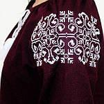 """Вышитая блуза """"Ольга"""" (бордовый лен) с белой вышивкой, 3XL, фото 7"""