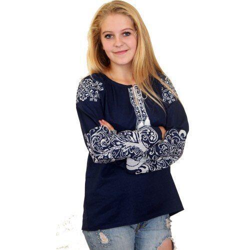 """Вышитая блуза """"Ольга"""" (синий лен) с белой вышивкой, 3XL"""