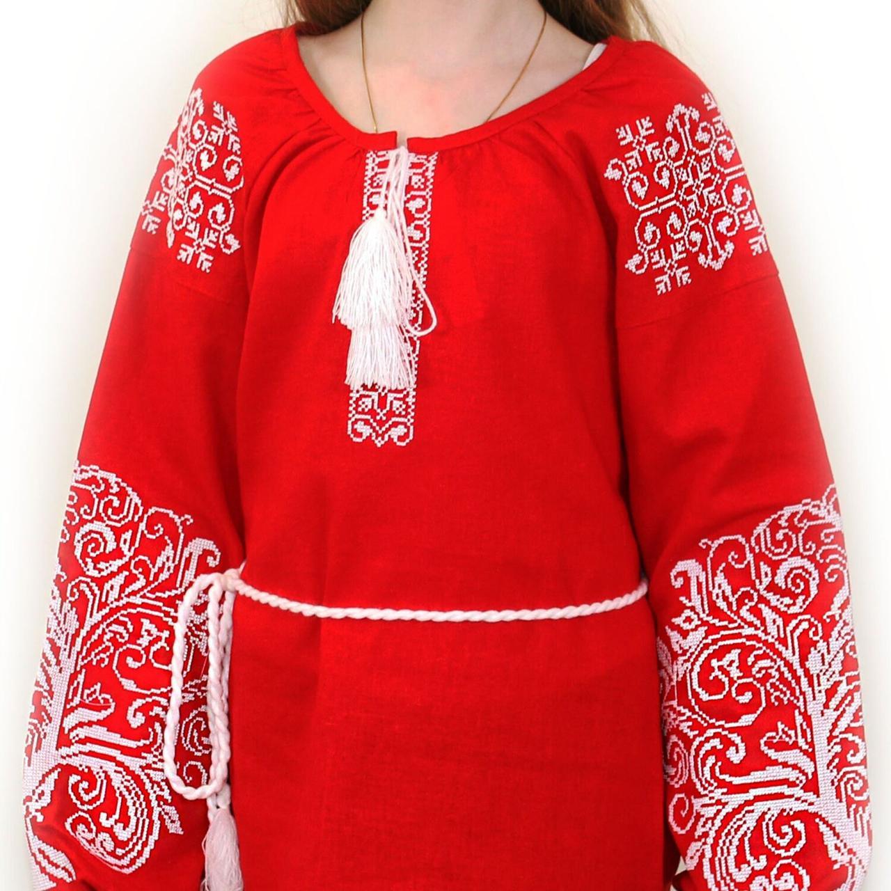 """Вышитая блуза """"Ольга"""" (красный лен) с белой вышивкой, S"""