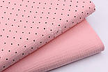 Муслин двухслойный жатый однотонного пудрового цвета, ширина 135 см, фото 5