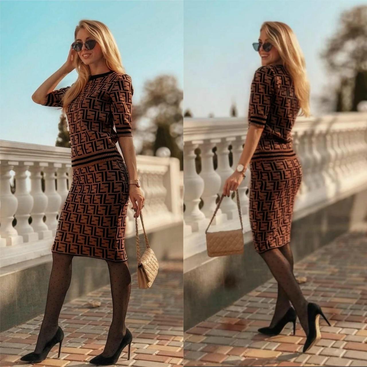 """Стильный женский костюм Кофта+юбка Fendi ткань """"Трикотажная вязка"""" 42, 44, 46 размер норма"""