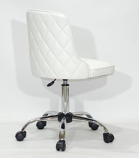 Кресло Адам ADAM CH-OFFICE белая экокожа на колесах, спинка стеганая