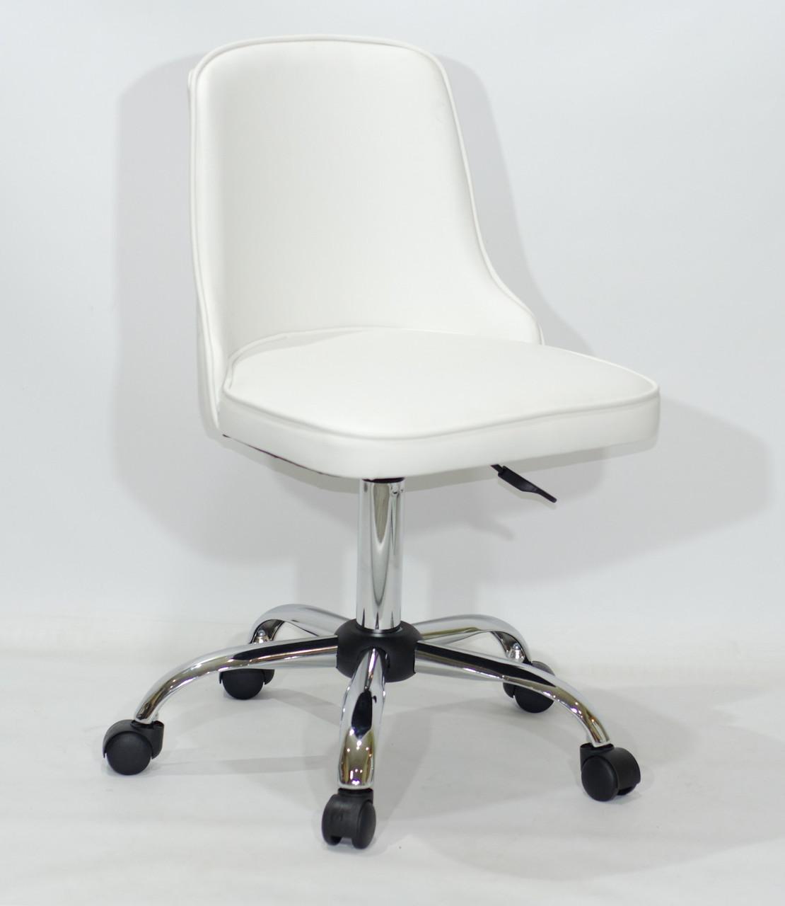 Кресло Адам ADAM CH-OFFICE белая экокожа на колесиках, спинка стеганая