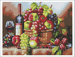 Алмазная вышивка Алмазна мозаїка Фрукты и вино (EF248) 30 х 40 см