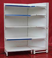 Торговый угловой стеллаж «Авилон» (Украина), 198х80х80 см., белый, Б/у