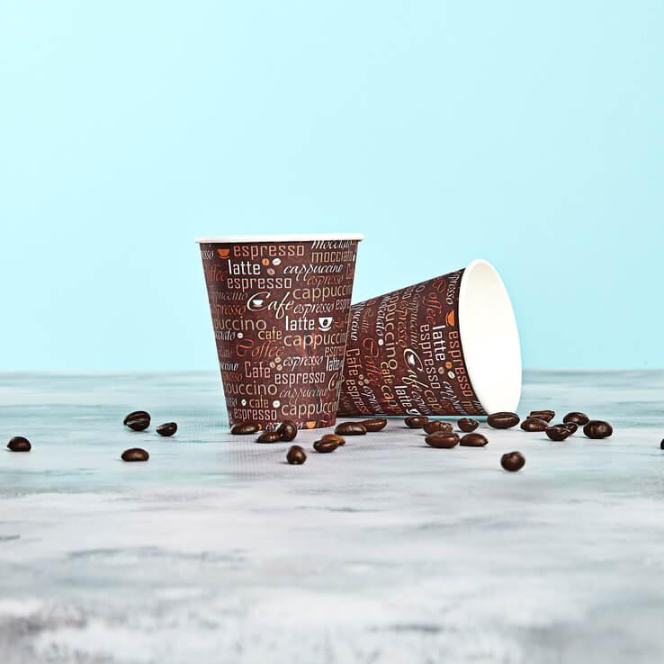 Цветной бумажный (картонный) одноразовый стакан ''Кофе'' 175 мл, 50 шт