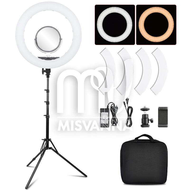 """Профессиональная кольцевая лампа MakeUp RL-18"""" с штатив-треногой для косметологии (зеркало, крепеж)"""