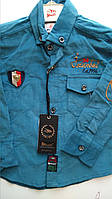 Рубашка вельветовая бирюза, одежда для мальчиков 86-110