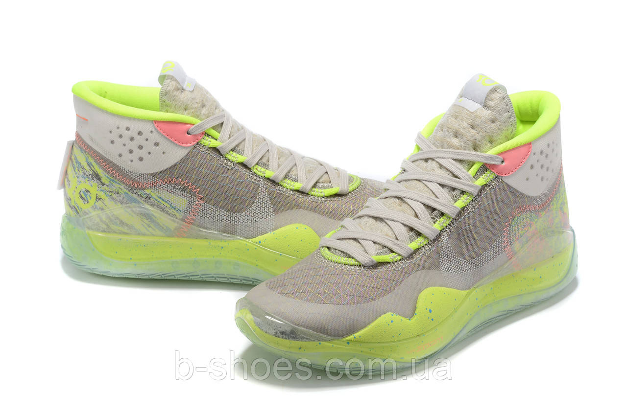 Мужские Баскетбольные кроссовки Nike KD  12(Grey/green)