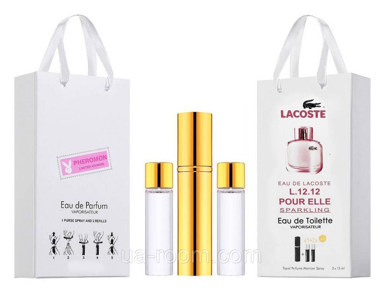 Мини-парфюм женский Lacoste Eau De L.12.12 Pour Elle Sparkling, 3х15 мл