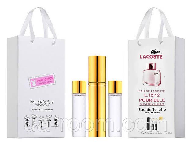 Мини-парфюм женский Lacoste Eau De L.12.12 Pour Elle Sparkling, 3х15 мл, фото 2