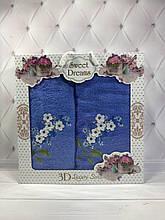 Набор подарочный махровые полотенца SWEET DREAMS 2в1, 3D 3735! Турция