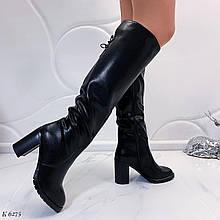 Женские сапоги черные ЗИМА на каблуке 9 см эко кожа