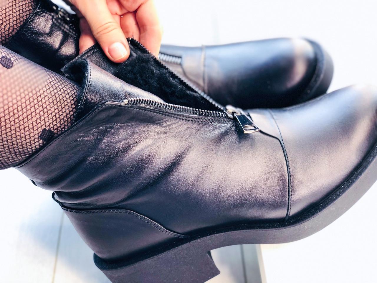 Женские зимние ботинки на молнии впереди