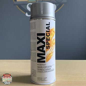 Краска (эмаль) термостойкая 650⁰С Maxi Special, 400 мл Аэрозоль Серебристый