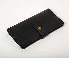 Шкіряне портмоне «Black Promo» чоловіче чорне (19,5x10 см) ручної роботи, фото 2