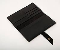 Кожаное портмоне «Promo Black» мужское черное (19,5x10 см) ручной работы от pan Krepko