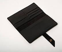 Шкіряне портмоне «Black Promo» чоловіче чорне (19,5x10 см) ручної роботи