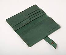 Шкіряне портмоне «Promo Green» унісекс зелене (19,5x10 см) ручної роботи