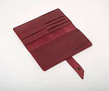 Шкіряне портмоне «Promo Marsala» жіноче бордове (19,5x10 см) ручної роботи