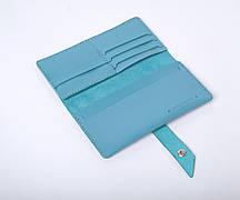 Шкіряний гаманець «Promo Azure» жіночий Блакитний (19,5x10 см) ручної роботи
