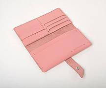 Шкіряний гаманець «Promo Powder» жіночий Рожевий (19,5x10 см) ручної роботи