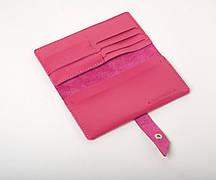 Шкіряний гаманець «Promo Fuchsia» жіночий Малиновий (19,5x10 см) ручної роботи