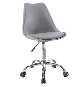Пластикове крісло на коліщатках Астер SDM сіре сидіння з подушкою